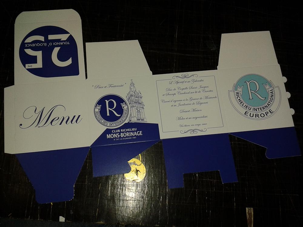 Menus cubiques, Club richelieu Mons